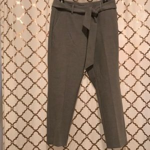LOFT high wasted crop pants with tie- gray - 6P